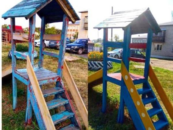 Материалы для благоустройства сельской детской площадки предоставил депутат
